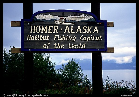 Welcome sign to Homer, Halibut fishing capital of the world. Homer, Alaska, USA