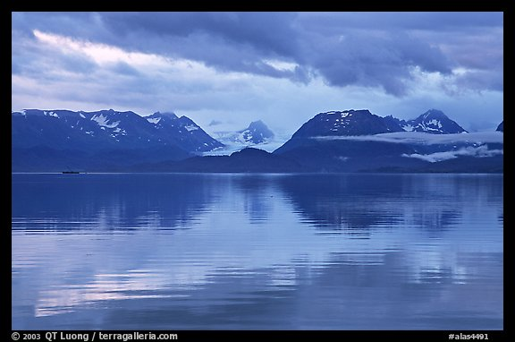 Kenai Mountains reflected in Katchemak Bay. Homer, Alaska, USA (color)