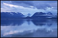 Kenai Mountains reflected in Katchemak Bay. Homer, Alaska, USA ( color)