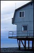 House on stilts on the Spit. Homer, Alaska, USA (color)