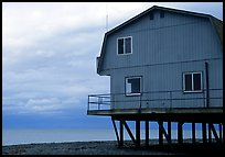 Watefront house on stilts on the Spit. Homer, Alaska, USA ( color)