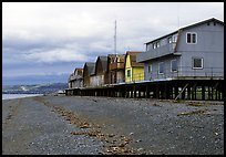 Beach and stilt houses on the Spit. Homer, Alaska, USA ( color)