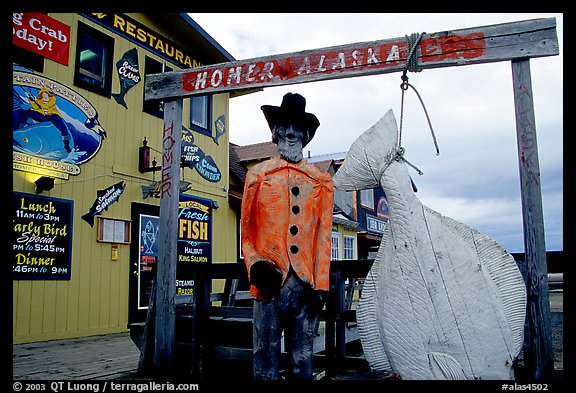 Halibut fishing sculpture on the Spit. Homer, Alaska, USA (color)