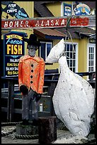 Halibut fishing sculpture on the Spit. Homer, Alaska, USA ( color)