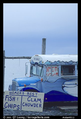 Seafood bus. Homer, Alaska, USA (color)