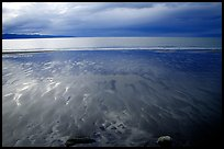 Sand patterns and stormy skies on the Bay. Homer, Alaska, USA