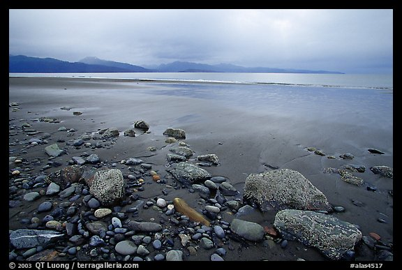 Sandy beach, rocks, and stormy skies on the Bay. Homer, Alaska, USA (color)