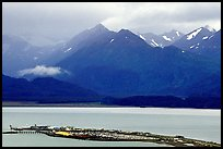 Distant view of the Spit and Kenai Mountains. Homer, Alaska, USA (color)