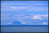 Mt Augustine, a volcano seen across the Cook Inlet. Ninilchik, Alaska, USA
