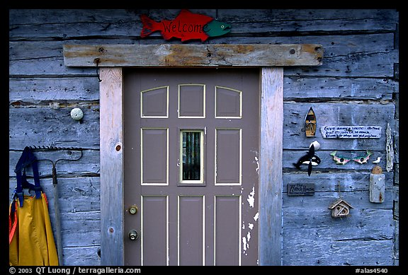 Wooden cabin door. Ninilchik, Alaska, USA