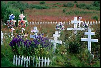 Russian orthodox cemetery. Ninilchik, Alaska, USA (color)