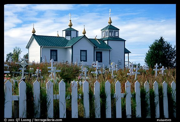 Picket Fence and old Russian church. Ninilchik, Alaska, USA (color)