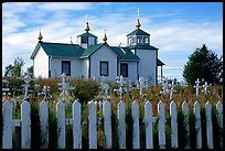 Picket Fence and old Russian church. Ninilchik, Alaska, USA ( color)
