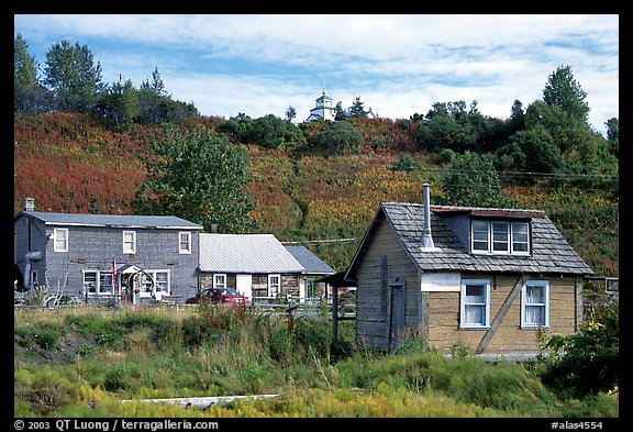 Old wooden houses in  village. Ninilchik, Alaska, USA (color)