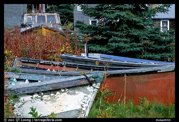Fishing boats in old  village. Ninilchik, Alaska, USA