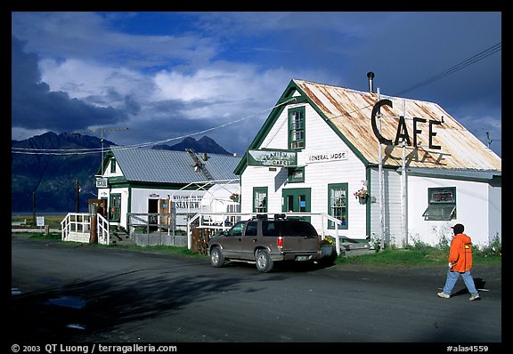 The tiny village's main street. Hope,  Alaska, USA (color)