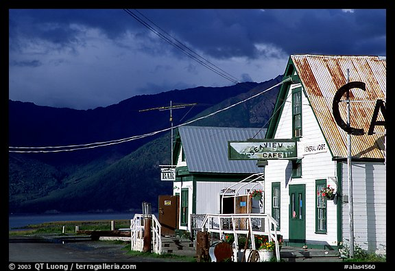 Village with stormy skies. Hope,  Alaska, USA