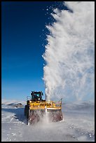 Snowplow with massive snow plume, Twelve Mile Summmit. Alaska, USA ( color)