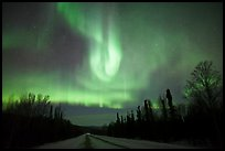 Aurora curtains above road. Alaska, USA (color)