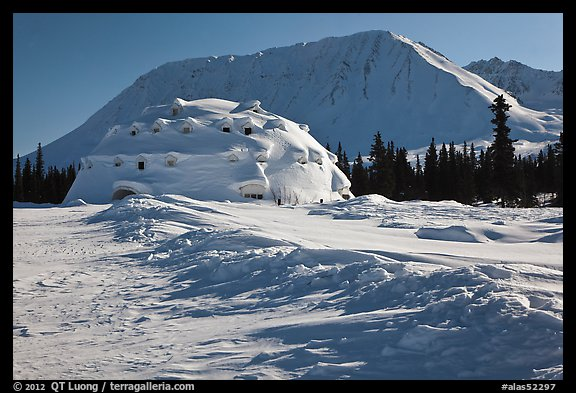 Winter landscape with igloo-shaped building. Alaska, USA (color)