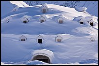Snow-covered igloo-shaped building. Alaska, USA ( color)