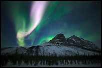 Multicolored Northern Lights above Mount Sukakpak. Alaska, USA (color)