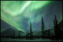 Aurora Borealis above Brooks Range in winter. Alaska, USA ( color)