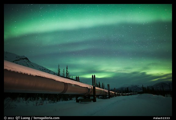 Trans Alaska Oil Pipeline at night with Northern Lights. Alaska, USA (color)