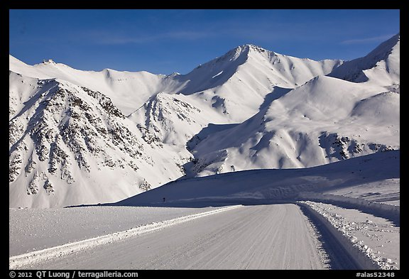 Frozen Dalton Highway, Atigun Pass. Alaska, USA (color)
