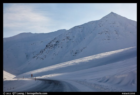 James W Dalton Highway at its highest point at Atigun Pass. Alaska, USA (color)