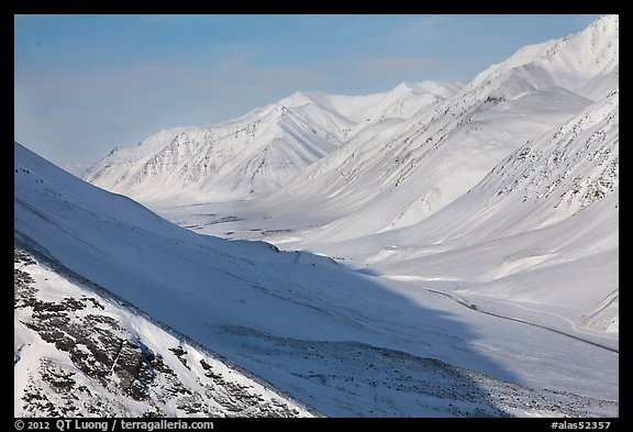 Snowy Arctic valley seen from Atigun Pass. Alaska, USA (color)