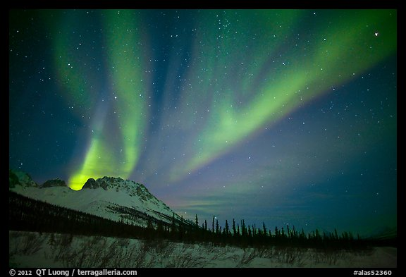 Aurora Borealis and starry night sky, Brooks Range. Alaska, USA (color)