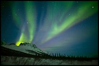 Aurora Borealis and starry night sky, Brooks Range. Alaska, USA ( color)