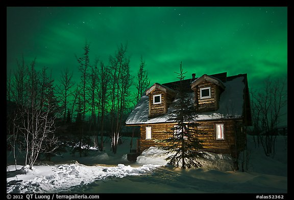 Cabin at night with Aurora Borealis. Wiseman, Alaska, USA (color)