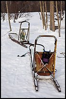 Sleds used for dog mushing. Wiseman, Alaska, USA ( color)