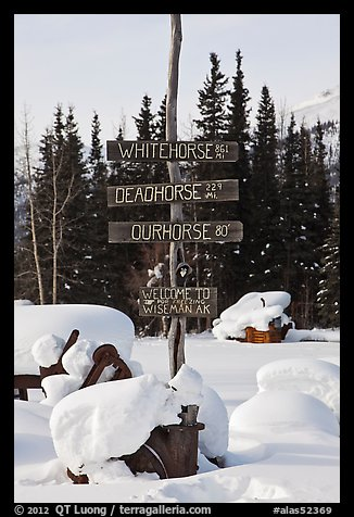 Signs in winter. Wiseman, Alaska, USA (color)