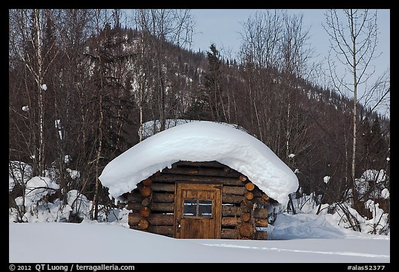 Snow-covered cabin. Wiseman, Alaska, USA (color)