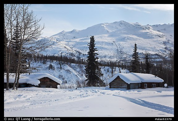 Cabins and winter landscape. Wiseman, Alaska, USA (color)