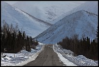 Dalton highway and mountains. Alaska, USA (color)