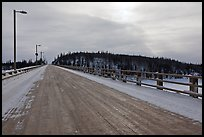 Long wooden bridge across Yukon River. Alaska, USA ( color)