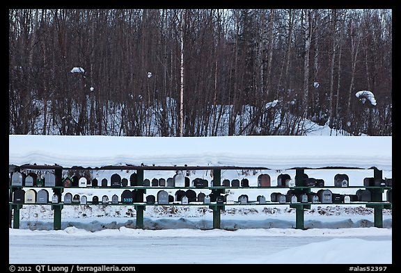 Mailboxes. Alaska, USA (color)