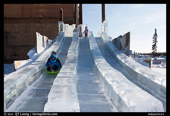 Kids park slides, Ice Alaska. Fairbanks, Alaska, USA (color)