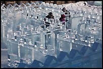 Maze made of ice, George Horner Ice Park. Fairbanks, Alaska, USA (color)