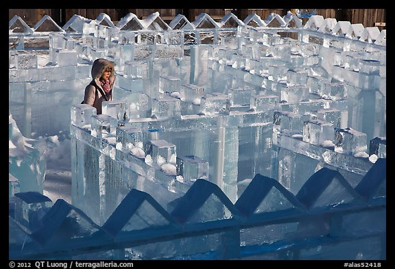Woman in ice maze, Ice Alaska. Fairbanks, Alaska, USA (color)