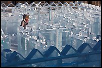 Woman in ice maze, Ice Alaska. Fairbanks, Alaska, USA ( color)