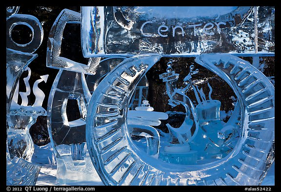 Ice sculpture garden, Ice Alaska competition. Fairbanks, Alaska, USA (color)