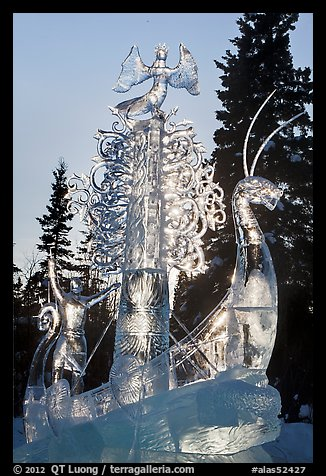 Large multibloc ice sculpture, 2012 World Ice Art Championships. Fairbanks, Alaska, USA (color)