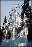 Large multibloc ice sculpture, 2012 World Ice Art Championships. Fairbanks, Alaska, USA ( color)