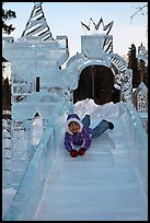 Girl on ice slide, Ice Alaska. Fairbanks, Alaska, USA ( color)