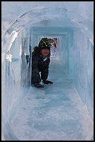 Girl inside ice tunnel, Ice Alaska. Fairbanks, Alaska, USA ( color)